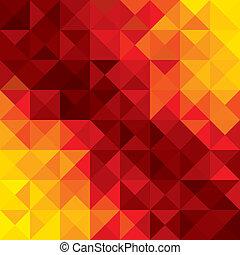 háromszögek, colorful narancs, elvont, alakzat, s a többi, vektor, háttér, geometriai, rombusz, poligonok, piros