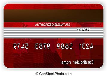hát, eps, hitel, vektor, 8, nézet., kártya, piros