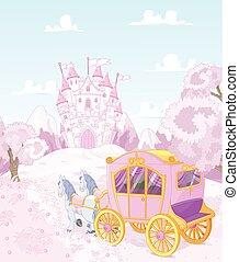 hát, hercegnő, királyság, kocsi