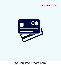 hát, hitel, vektor, eleje kilátás, kártya, ikon