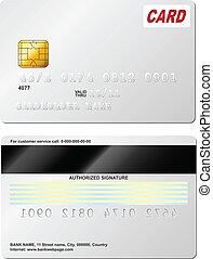 hát, hitel, vektor, tiszta, elülső, nézet., template., kártya