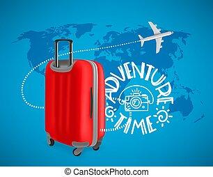 hát, piros, utazás, fogalom, bőrönd