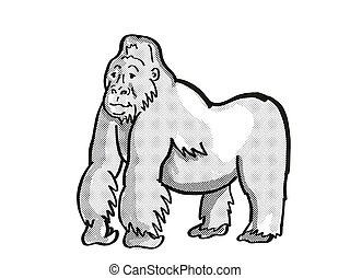 hát, rajz, gorilla, monó, kicsapongó élet, egyenes, ezüst, veszélyeztet, hegy, karikatúra