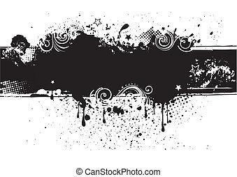 hát, tinta, illustration-grunge, vektor