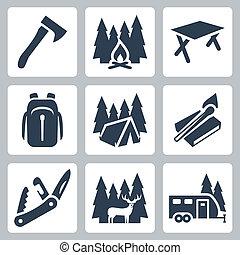 hátizsák, összecsukható, kempingezés, ikonok, gyufa, őz, vektor, tábortűz, kúszónövény, set:, sátor, fejsze, kés, asztal