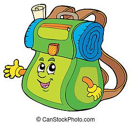 hátizsák, karikatúra