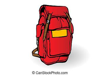 hátizsák, vektor, természetjáró, ábra, piros
