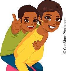 háton, amerikai, anya, afrikai, fiú