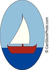 háttér, ábra, vektor, csónakázik, tenger, white piros