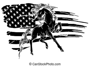 háttér, árnykép, ló, fekete, grunge, lobogó, vektor, ábra, vad