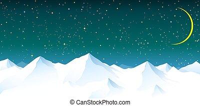 háttér, ég, hegyek, havas, ellen, éjszaka, csillagos