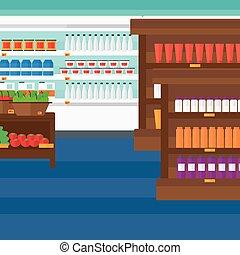 háttér, élelmiszer áruház, shelves.