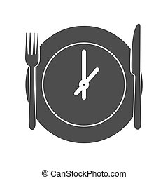 háttér., étkezés, ikon, idő, elszigetelt, vektor, egyszerű, tervezés, fehér