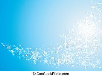 háttér, ünnepies, elvont, hó, csillaggal díszít, fényes, flakes.