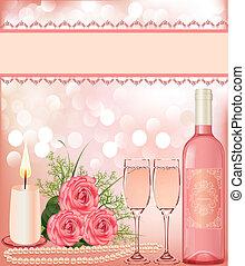 háttér, ünnepies, gyertya, goblet., gyöngyszem, rózsa