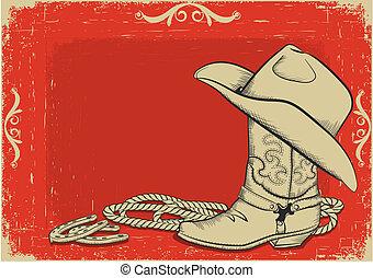 háttér, amerikai, csizma, kalap, cowboy, piros, western, design.