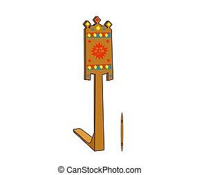 háttér., antik, vektor, cartoon., gördít, fából való, fonás