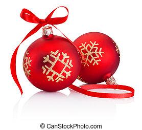 háttér, apróságok, íj, szalag, két, dekoráció, elszigetelt, piros white, karácsony