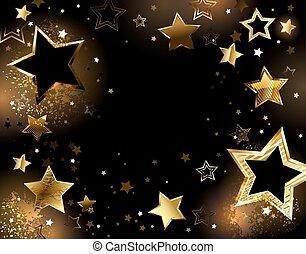 háttér, arany, csillaggal díszít, fekete