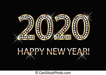 háttér, arany, vektor, új, 2020, boldog, év