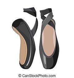 háttér., balett cipő, black női, fehér, pointes