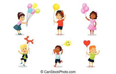 háttér., balloons., vektor, ábra, gyerekek, fehér