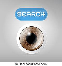 háttér, barna, vektor, szürke, keres, szem, gombol
