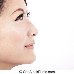 háttér, becsuk, elszigetelt, arc, fehér, nő, szépség, feláll, ázsiai