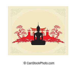 háttér, buddha, táj, ázsiai, árnykép