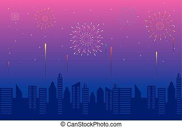 háttér, citycape, ég, rózsaszínű, tűzijáték, kitörés, robbanások