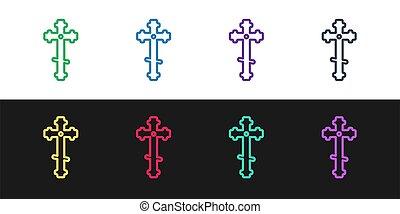háttér., cross., vektor, templom, állhatatos, egyenes, fekete, elszigetelt, keresztény, kereszt, fehér, ábra, ikon