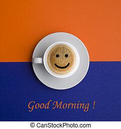 háttér, csésze, reggel, jó, kávécserje