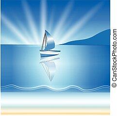 háttér, csónakázik, lenget