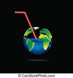 háttér, derékszögben, fekete, elszigetelt, ábra, pohár, bolygó, fogalom, vektor
