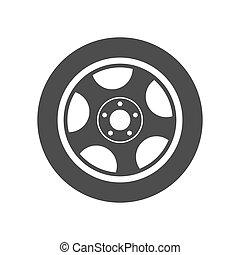 háttér, egyszerű, vektor, ikon, elszigetelt, wheel., fehér