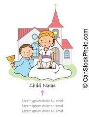 háttér, először, biblia, angyal, card., lelki közösség, lány olvas, az enyém, következő, templom