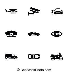 háttér, elszigetelt, állhatatos, ikonok, fekete, téma, fehér, rendőrség