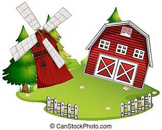 háttér, elszigetelt, épület, tanya, fehér