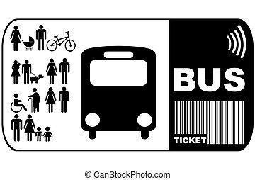 háttér, elszigetelt, cédula, autóbusz, fehér