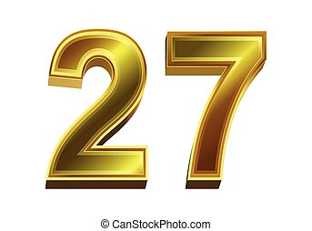 háttér, elszigetelt, fehér, arany-, 3, szám, 27