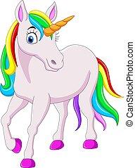 háttér, elszigetelt, fehér, karikatúra, szivárvány, egyszarvú, ló