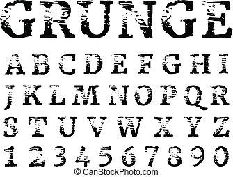háttér., elszigetelt, irodalomtudomány, textured, alphabet., kopott, fekete, grunge, font., számok, fehér