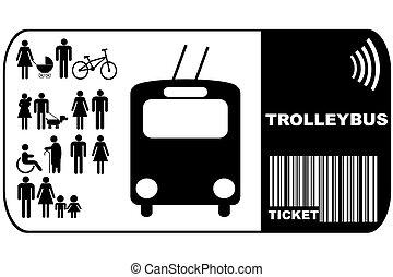 háttér, elszigetelt, trolleybus, cédula, autóbusz, fehér