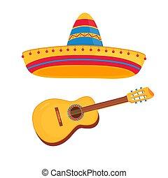 háttér, elszigetelt, vektor, mexikói, fehér, szombréró, gitár, ábra