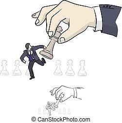 háttér., elszigetelt, vektor, sakkjáték, ügy, el, fehér, kéz, ábra, concept., businessman út, megvonalaz, skicc, szórakozottan firkálgat, fekete, húzott, király