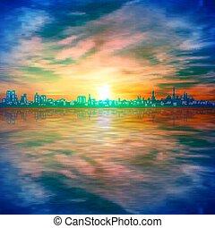 háttér, elvont, arany, eredet, árnykép, ég, napnyugta, kék, város