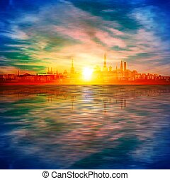 háttér, elvont, arany, eredet, árnykép, ég, tallinn, napnyugta, kék