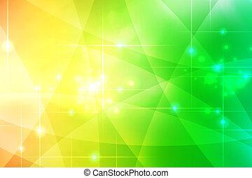 háttér, elvont, zöld, sárga, kanyarok