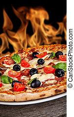 háttér, fénylik, fából való, finom, szervál, asztal, pizza, olasz