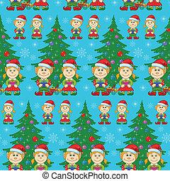 háttér, fa, seamless, kisbabák, karácsony